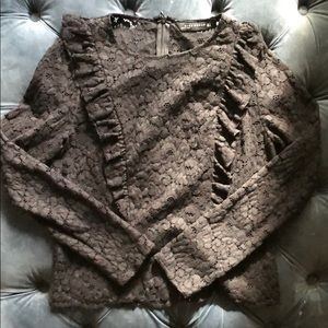 Zara Lace Ruffles L/S Shirt size M